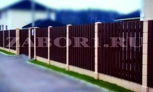 забор с бетонными столбами фото