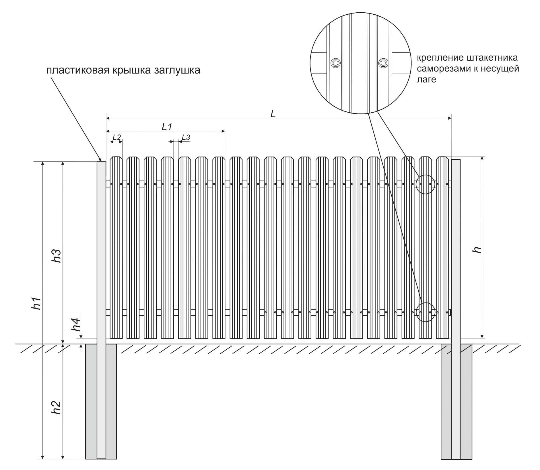 металлический штакетник со столбами 60х60