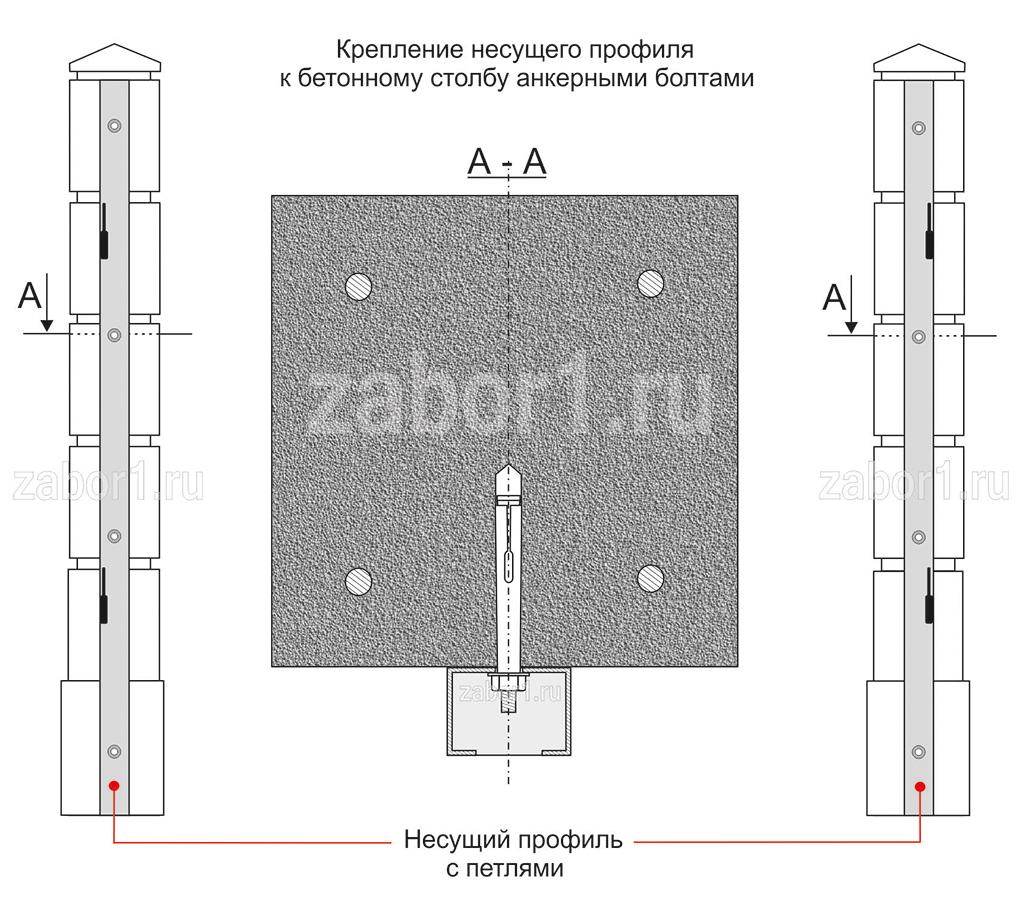 Крепление несущего профиля к бетоному столбу