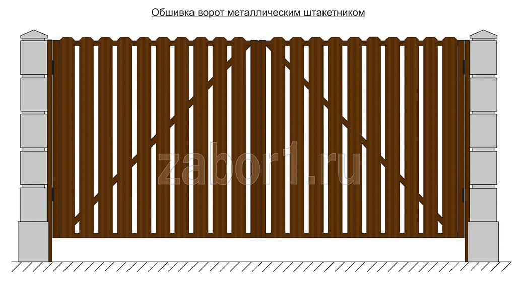 Обшива ворот металлическим штакетником