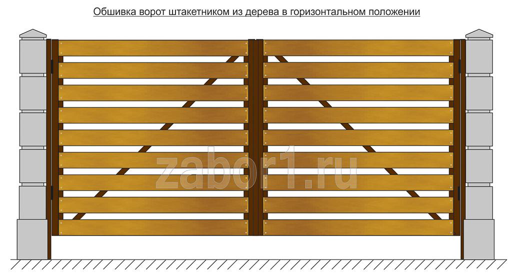 Обшивка ворот из дерева в горизонтальном положении